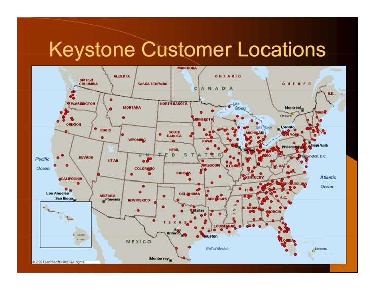Map of Affiliates currently using Keystone